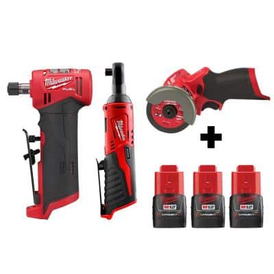 M12 FUEL 12-Volt Lithium-Ion Brushless Cordless 1/4 in. Right Angle Die Grinder/Ratchet/Cut Off Saw Combo Kit