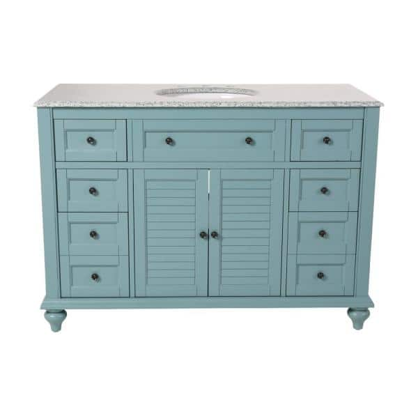 Home Decorators Collection Hamilton Shutter 49 5 In W X 22 In D Bath Vanity In Sea Glass With Granite Vanity Top In Grey With White Sink 10806 Vs48h Sg The Home Depot