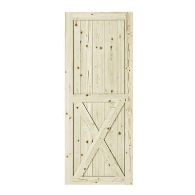 37 in. x 84 in. Half-Cross X-Brace Unfinished Knotty Pine Interior Barn Door Slab