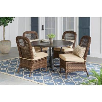 Beacon Park 5-Piece Brown Wicker Outdoor Dining Set with Toffee Cushions