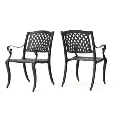 Hallandale Black 2-Pack Aluminum Outdoor Dining Chair
