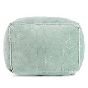 22 in. x 22 in. x 16 in. Velvet Fog Green and Gray Pouf