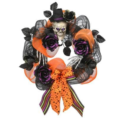 National Tree Company 22 In Halloween Wreath With Skull Rah J501x22a 1 The Home Depot