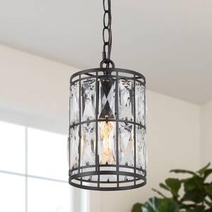 1-Light Black Modern Coastal Mini Pendant Light Transitional Pendant Ceiling Light with Solid Crystal Shades