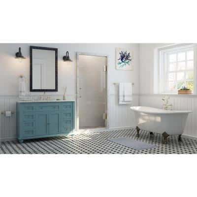 Hamilton Shutter 49.5 in. W x 22 in. D Bath Vanity in Sea Glass with Granite Vanity Top in Grey with White Sink