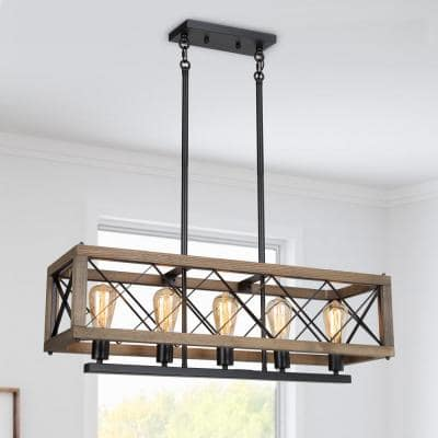 Grove 32 in. 5-Light Rustic Black Farmhouse Linear Island Chandelier Solid Pine Wood Rectangle Box Ceiling Light