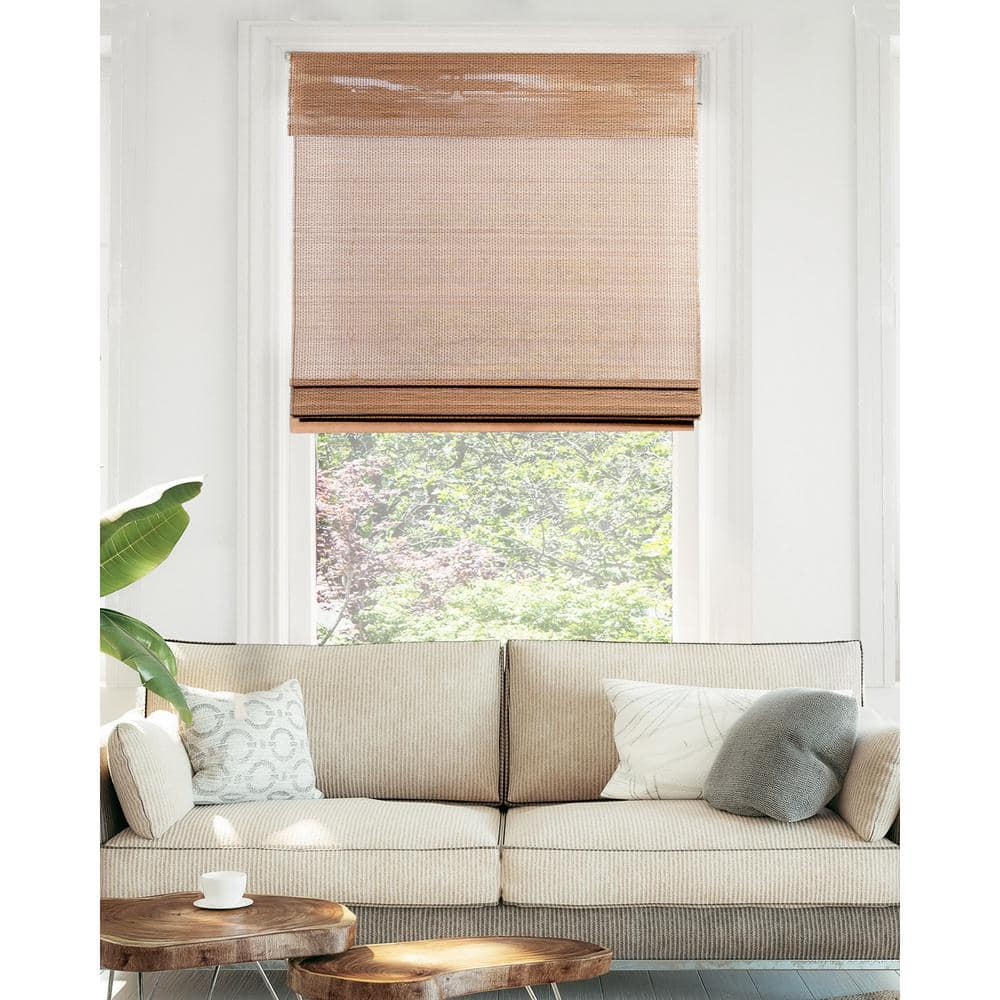 Chicology Premium True to Size Brown Acorn Cordless Light Filtering Natural  Woven Bamboo Roman Shade 12 in. W x 12 in. L BRA1212   The Home Depot