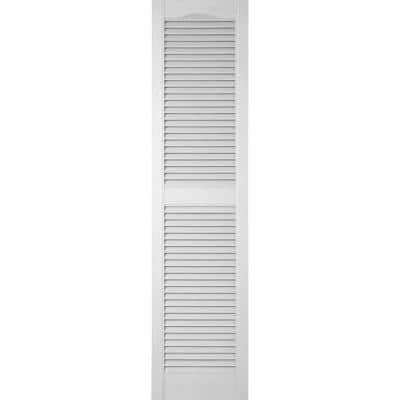 15 in. x 47 in. Louvered Vinyl Exterior Shutters Pair in Paintable
