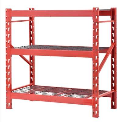 Red 3-Tier Welded Steel Garage Storage Shelving Unit (48 in. W x 48 in. H x 24 in. D)