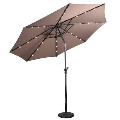 10 ft. Metal Market Solar Tilt Patio Umbrella in Tan with Crank and LED Lights