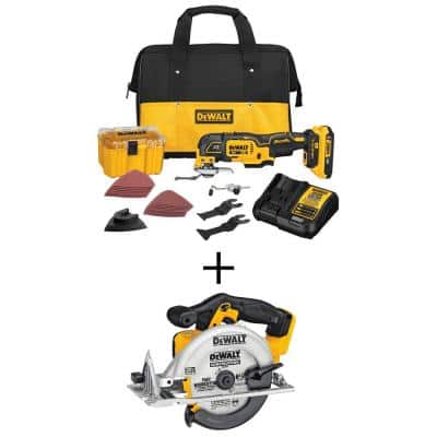 20-Volt MAX XR Cordless Brushless 3-Speed Oscillating Multi-Tool with (1) 20-Volt 2.0Ah Battery & 6-1/2 in. Circular Saw