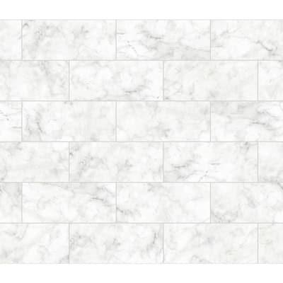 White Marble Tile Wall Applique Peel and Stick Backsplash