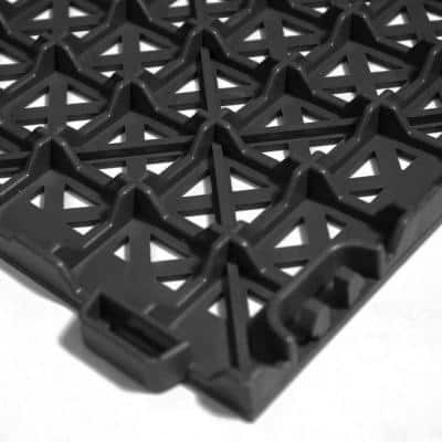 StayLock Perforated Gray 12 in. x 12 in. x 0.56 in. PVC Plastic Interlocking Outdoor Floor Tile (Case of 26)
