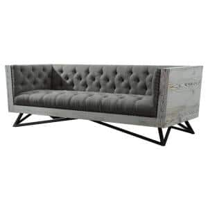 Armen Grey Fabric Living Contemporary Sofa with Black Metal Legs and Antique Brown Nailhead Accents