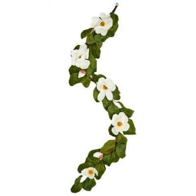 76 in. Magnolia Garland with 7 Flowers