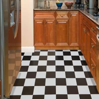 Tivoli Black and White 12 in. x 12 in. Peel and Stick Checkered Pattern Vinyl Tile (45 sq. ft./case)