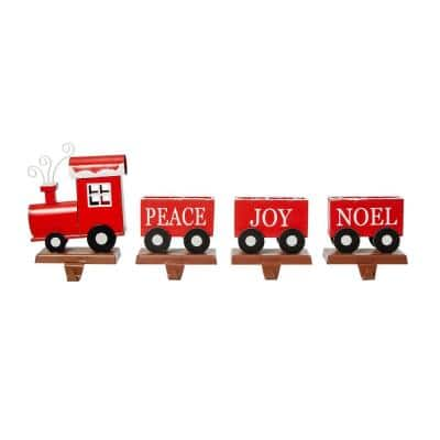 8.5 in. H Set of 4 Wooden Metal Christmas Train Stocking Holder