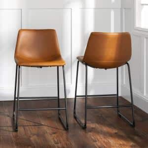 24 in. Whiskey Brown Faux Leather Counter Stool (Set of 2)