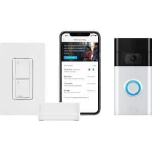 Caseta Smart Switch Starter Kit with Ring 1080p Smart Video Doorbell Camera, Satin Nickel (2020 Release)