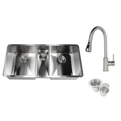 Undermount Deep Stainless Steel 42 in. x 20 in. x 10 in. 6-Gauge 40/20/40 Zero Radius Triple Bowl Kitchen Sink w/ Faucet