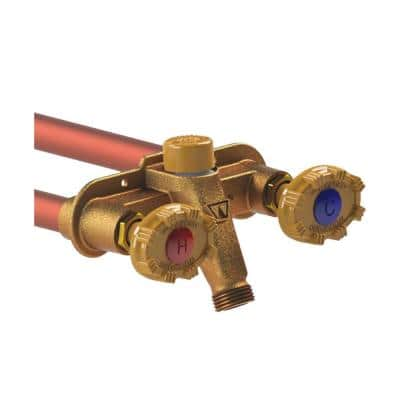 1/2 in. PEX x 22 in. L Freezeless Brass Model 22 Anti-Rupture Hot and Cold Sillcock