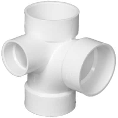 3 in. x 3 in. x 3 in. x 2 in. DWV PVC Sanitary Tee with Left Inlet