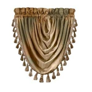 Ombre 42 in. L Polyester Window Curtain Waterfall Valance in Earth