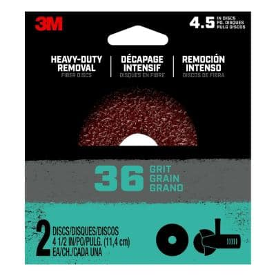4.5 in. 36-Grit Heavy-Duty Removal Fiber Disc (Case of 12, 2-Packs)