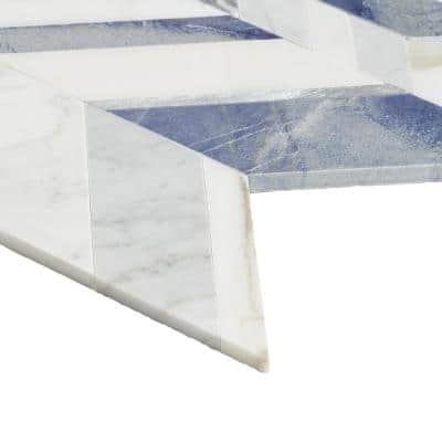 Tyra Azur 11.81 in. x 18.89 in. Polished Marble Wall Mosaic Tile (1.55 sq. ft./Each)