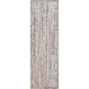 Dara Striped Coastal Jute Blue 3 ft. x 10 ft. Runner
