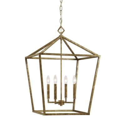 3254-VG 4-Light 20 in. Wide Vintage Gold Taper Candle Pendant