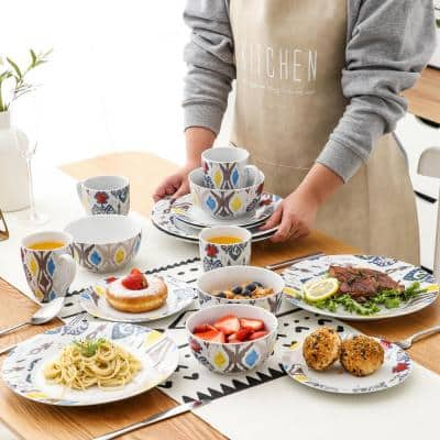 16- Piece Modern Colorful Patterns White with blue Porcelain Dinnerware Sets (Service for Set for 4)