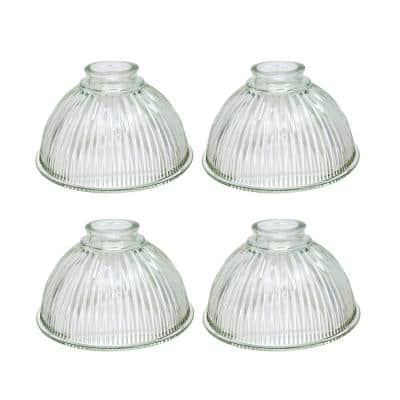 4-3/4 in. Clear Ribbed Dome Shaped Ceiling Fan Replacement Glass Shade (4-Pack)