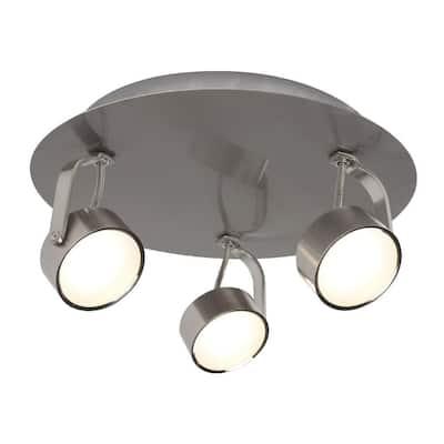 3-Light Brushed Chrome Integrated LED Spot Light