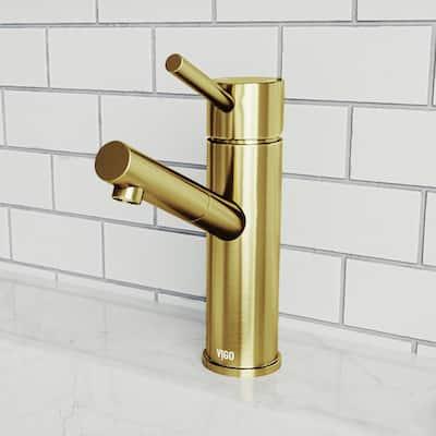 Noma Single-Handle Single Hole Bathroom Faucet in Matte Gold