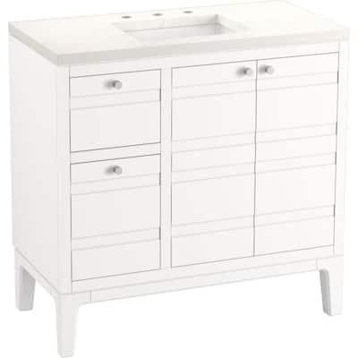 HeIst 36.0625 in. W x 18.0625 in. D x 35.8125 in. H Bathroom Vanity in White with Quartz Top