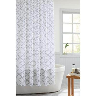 70 in. x 72 in. Gray Tile Trellis Fabric Shower Curtain