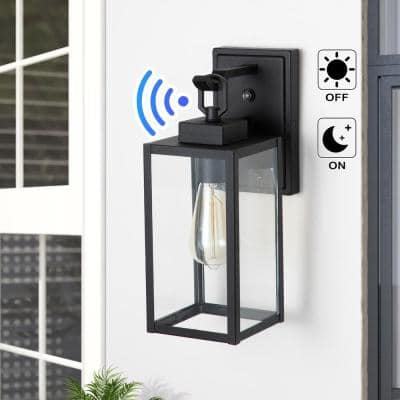 1-Light Matte Black Dusk to Dawn Outdoor Wall Lantern Sconce with Clear Tempered Glass