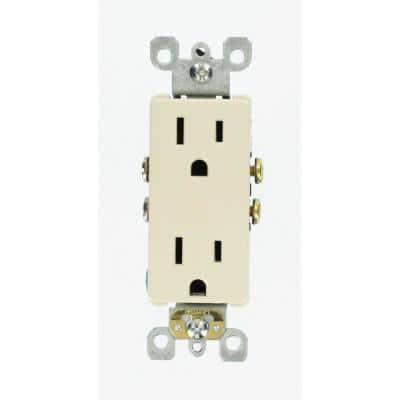 Decora 15 Amp Residential Grade Self Grounding Duplex Outlet, Light Almond