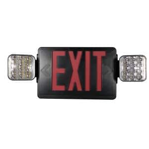 Combo 14-Watt with NICAD 9.6-Volt Battery Integrated LED Black Exit Sign and Emergency Light