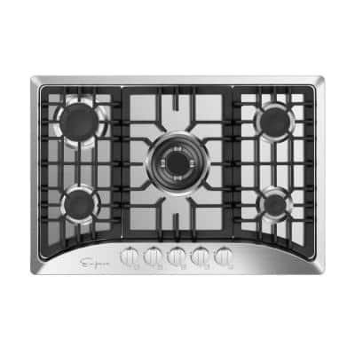 Built-in 30 in. Gas Cooktop - 5 Sealed Burners Cook Tops in Stainless Steel