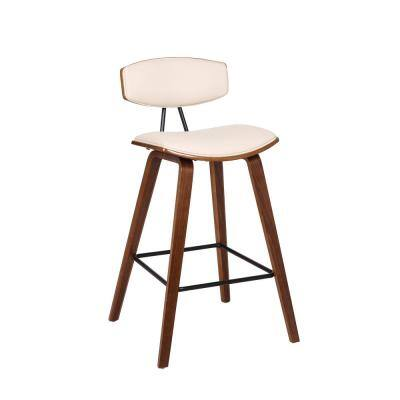 Fox 26 in. Mid-Century Counter Height Bar Stool in Cream Faux Leather with Walnut Wood