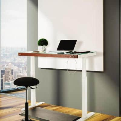 airLIFT 48 in. White Tempered Glass and Steel Electric Sit-Stand Desk with Dual USB Charging ports with Wood front