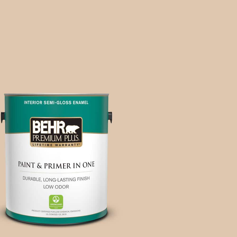 Behr Premium Plus 1 Gal N260 2 Almond Latte Semi Gloss Enamel Low Odor Interior Paint And Primer In One 305001 The Home Depot