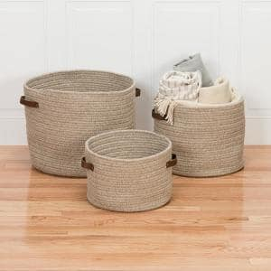 Monaco 18 in. x 18 in. x 14 in. Beige Round Natural Wool Braided Basket