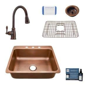 Rosa All-In-One Drop-In Copper 25 in. 3-Hole Single Bowl Copper Kitchen Sink with Pfister Bronze Faucet and Drain