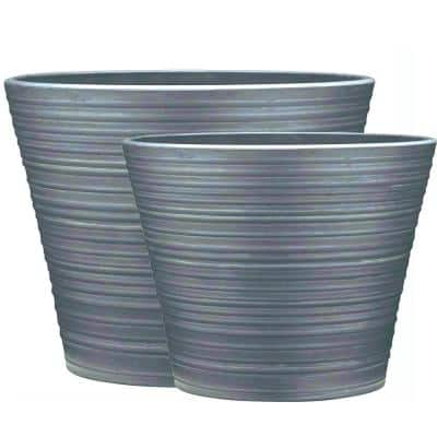 Cabana 12 in. and 16 in. Gray High-Density Resin Planter Combo Pack (Set of 2)