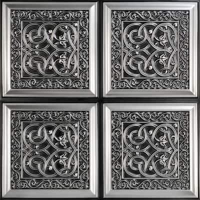 Lover's Knot Antique Silver 2 ft. x 2 ft. PVC Glue-up Ceiling Tile (100 sq. ft./case)