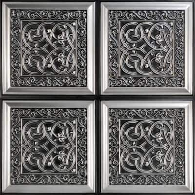 Lover's Knot 2 ft. x 2 ft. Glue Up PVC Ceiling Tile in Antique Silver