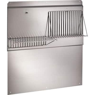 42 in. Backsplash with Shelves in Stainless Steel for Range Hood